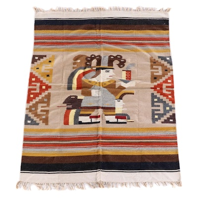 4'8 x 6'6 Handwoven Mexican Zapotec Pictorial Wool Rug