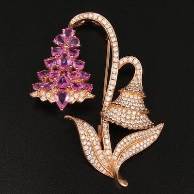 18K Rose Gold 3.60CTW Diamond and Pink Sapphire Flower Motif Converter Brooch