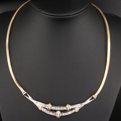 14K Gold 2.00 CTW Diamond Omega Necklace