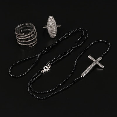 Sterling Silver Cross Necklace and Rings with Diamonds and Spinel