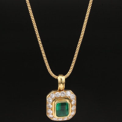 18K Gold 2.51 CT Emerald and 1.50 CTW Diamond Necklace