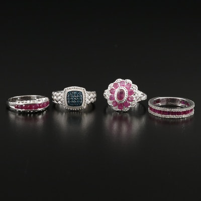 Collection of Sterling Silver Rings with Ruby and Diamond