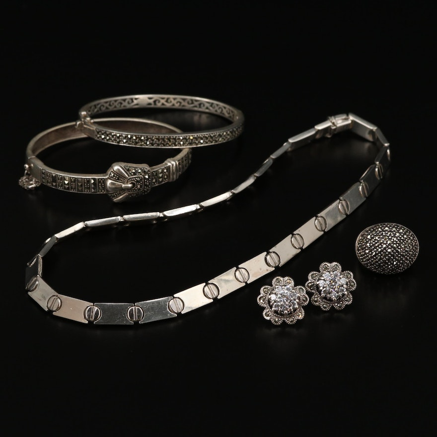 Sterling Silver Cubic Zirconia and Marcasite Bracelets, Earrings and Necklace