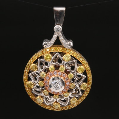 18K Tri-Color Gold 1.96 CTW Diamond Pendant