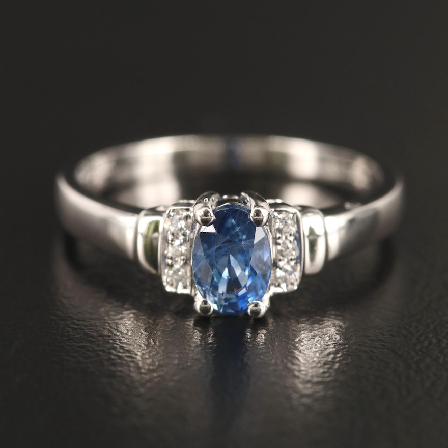18K Sapphire and Cubic Zirconia Ring