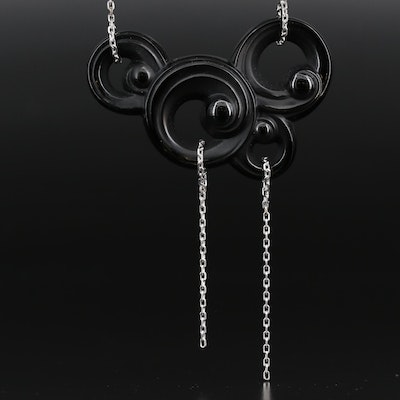 """Lalique """"Lijiang Noir"""" Crystal Necklace From the """"Three Elements Collection"""""""