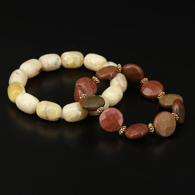 Carved Common Opal and Jasper Expandable Bracelets