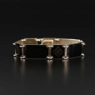 Volmer Bahner Sterling Silver Enamel Link Bracelet