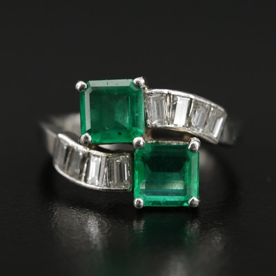 Vintage Platinum Emerald and 0.75 CTW Diamond Bypass Ring