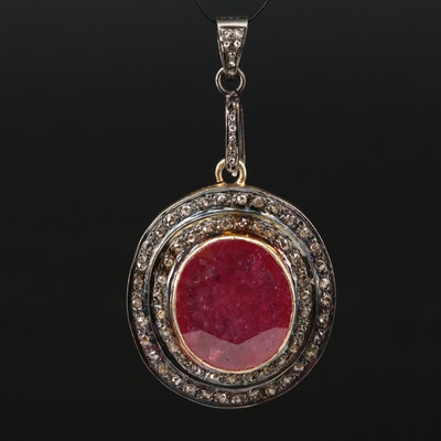 Sterling Corundum and Diamond Pendant