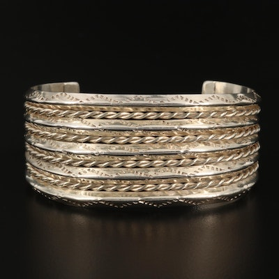 Sterling Silver Cuff Bracelet Featuring Stampwork and Rope Designs