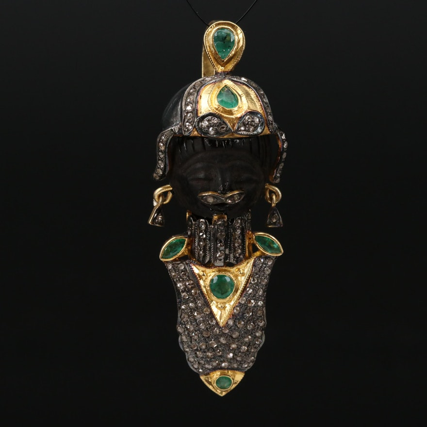 Sterling Emerald, Wood and Diamond Figural Pendant