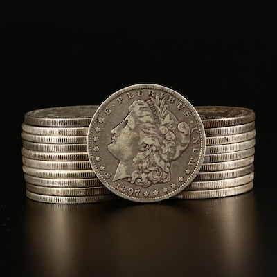 Twenty Morgan Silver Dollars Including Better Date 1897-O and 1900-O
