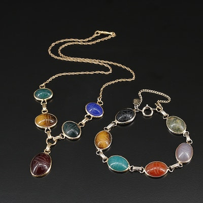 Scarab Necklace and Bracelet Set Featuring Tiger's Eye and Gemstone Accents