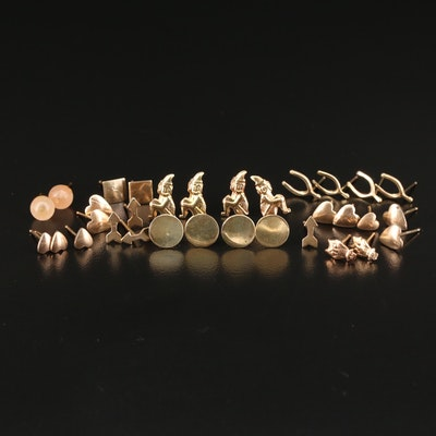 Assortment of 14K Gold Stud Earrings Including 10K Gold and Rose Quartz