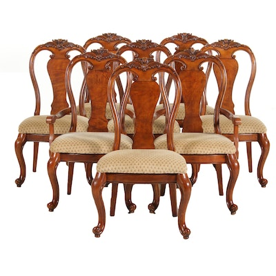 George II Style Upholstered Walnut Dining Chairs, Late 20th Century