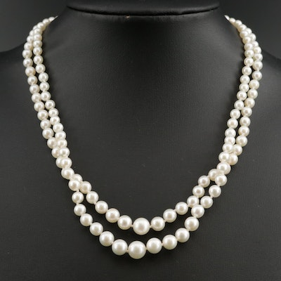 Mikimoto Sterling Silver Double Strand Graduated Necklace