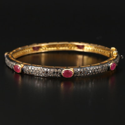 Sterling Silver Pavé Corundum and Diamond Hinged Bangle