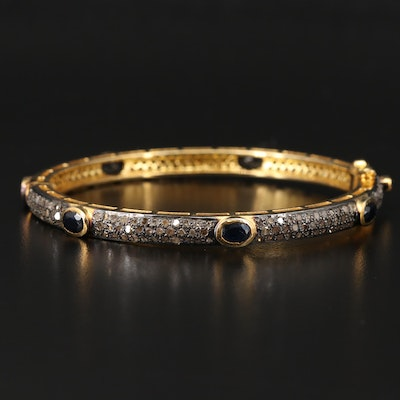 Sterling Silver Pavé Sapphire and Diamond Hinged Bangle