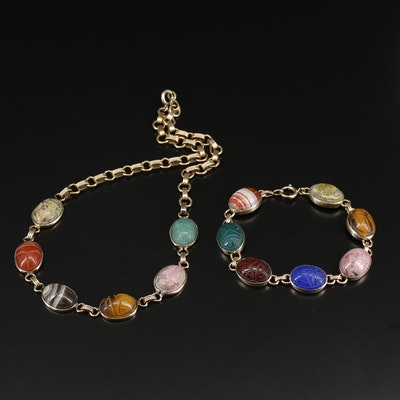 Scarab Style Necklace and Bracelet Set Featuring Agate and Gemstone Accents