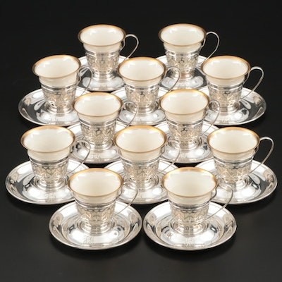 Gorham Sterling Silver Demitasse Cup and Saucer Set with Lenox Liners