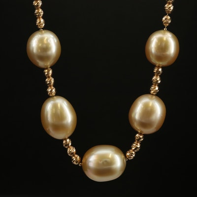 18K Dark Cream to Golden Pearl Station Necklace with Sliding Adjustable Clasp