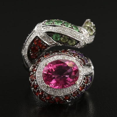 18K Gold 3.06 CT Pink Tourmaline and Gemstone Bypass Ring