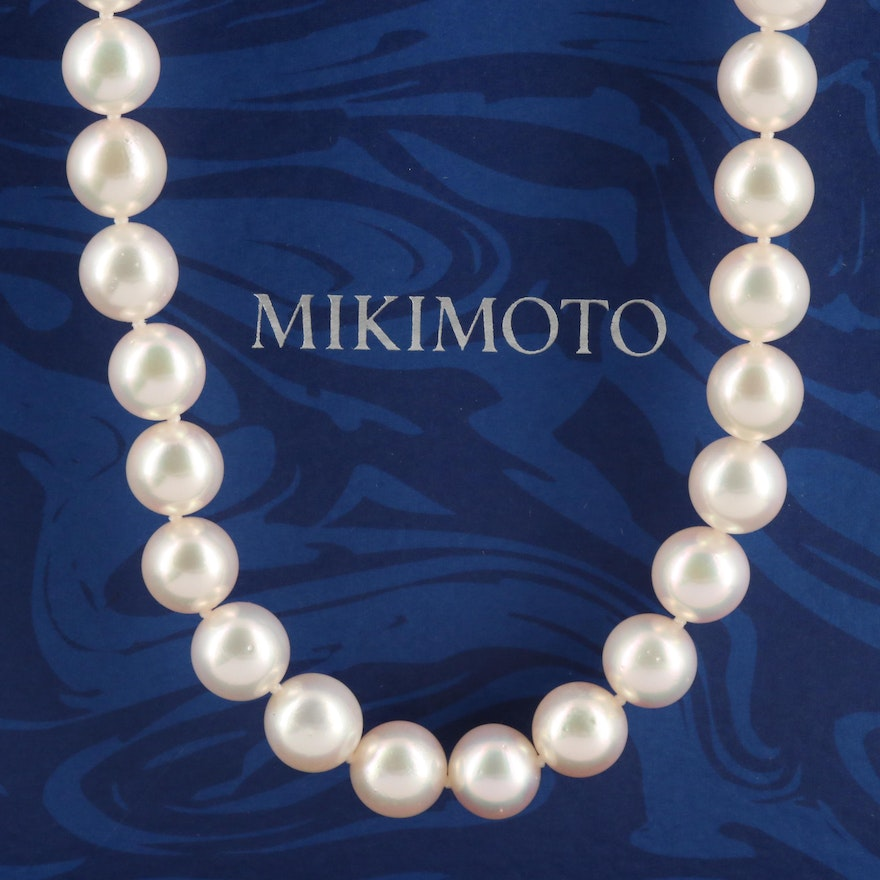 Mikimoto Single Strand Pearl Necklace with 18K Yellow Gold Clasp