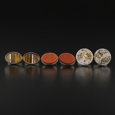 Sterling Silver Cufflinks Selection Featuring Goldstone Glass and Gemstones