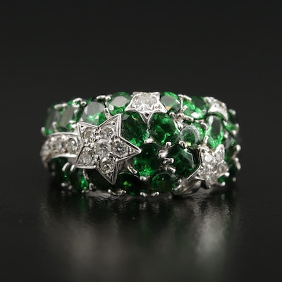 18K Gold Chrome Diopside and Diamond Ring with Shooting Star Motif