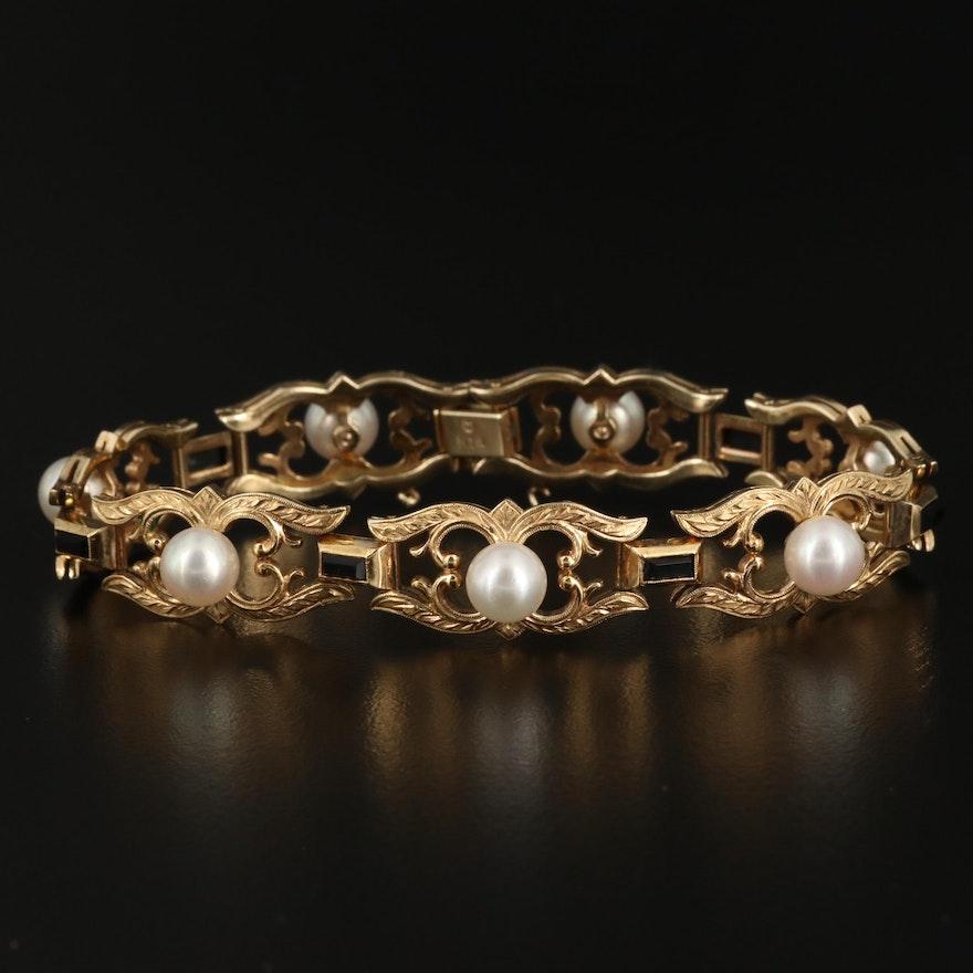 Mikimoto 14K Yellow Gold Pearl and Black Onyx Bracelet