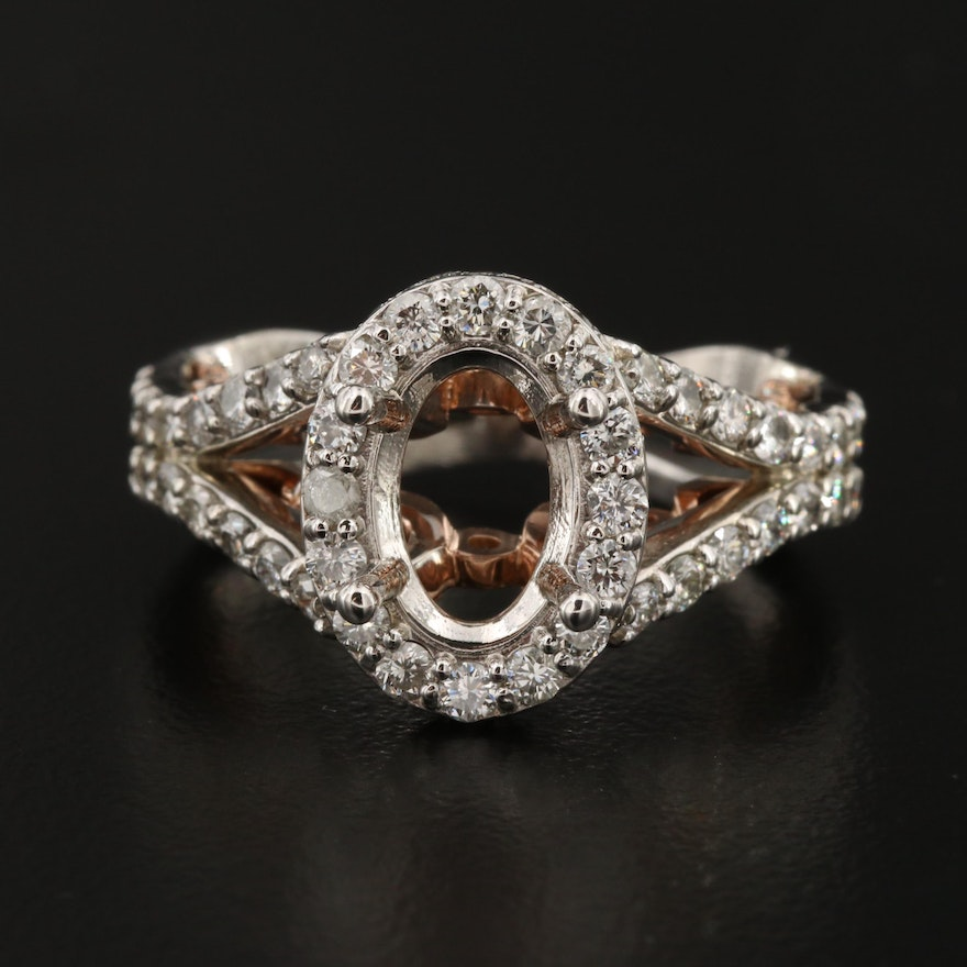 14K Gold 2.13 CTW Diamond Semi-Mount Ring with Rose Gold Accents