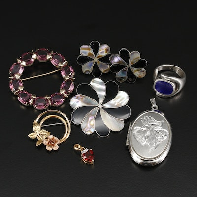 Sterling Silver Jewelry Including Mother of Pearl Brooch and Earrings Set