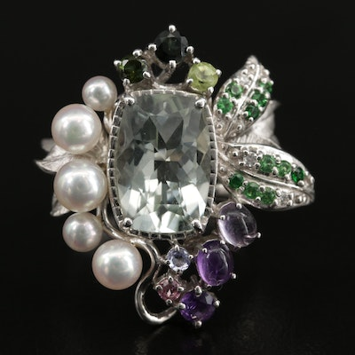 18K White Gold Diamond and Multi-Gemstone Ring With Foliate Motif