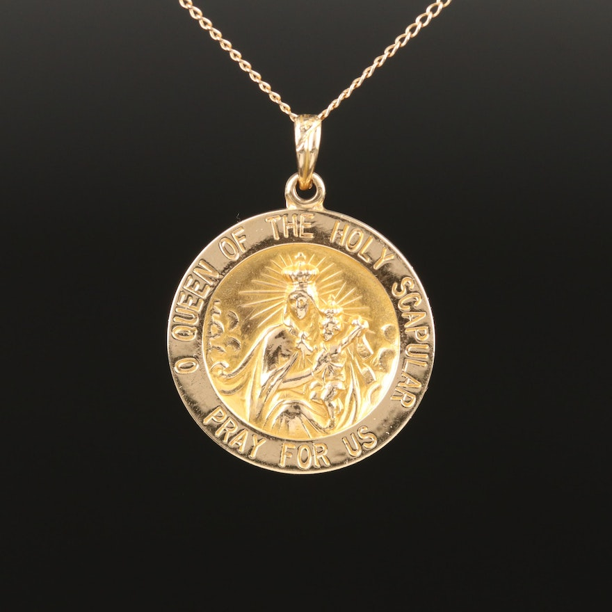 14K Yellow Gold Reversible Pendant Necklace Featuring Jesus and Mary Imagery