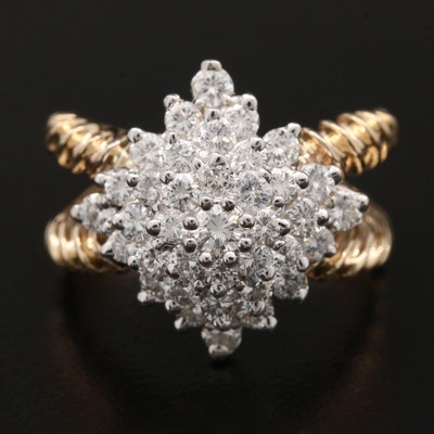 14K Yellow Gold 1.90 CTW Diamond Cluster Ring With Split Shank