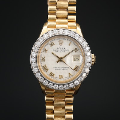 1980 Rolex Datejust 18K Gold and 1.28 CTW Diamond Bezel Automatic Wristwatch