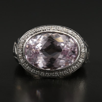 18K Kunzite and Diamond Ring