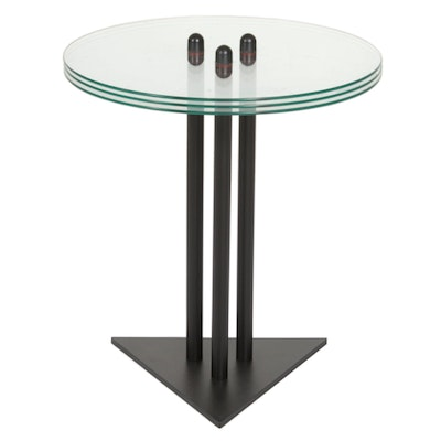 BDI Postmodern Metal and Glass Side Table