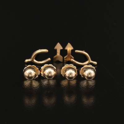 14K Yellow Gold Petite Fashion Stud Earrings