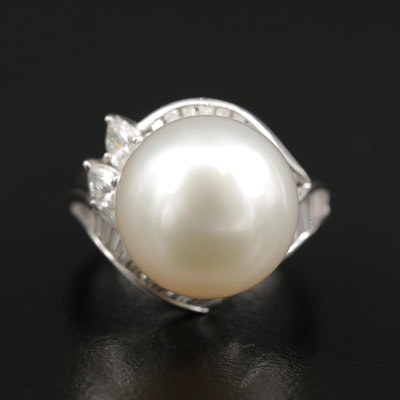 Platinum Pearl and 1.51 CTW Diamond Ring