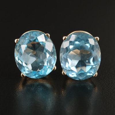 14K Topaz Button Earrings
