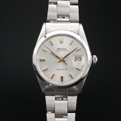 1969 Rolex Oysterdate Stainless Steel Wristwatch