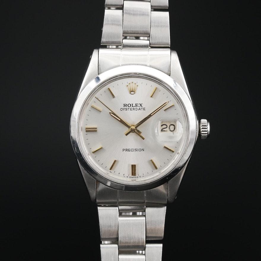 1969 Rolex Oysterdate Stainless Steel Wristwatch