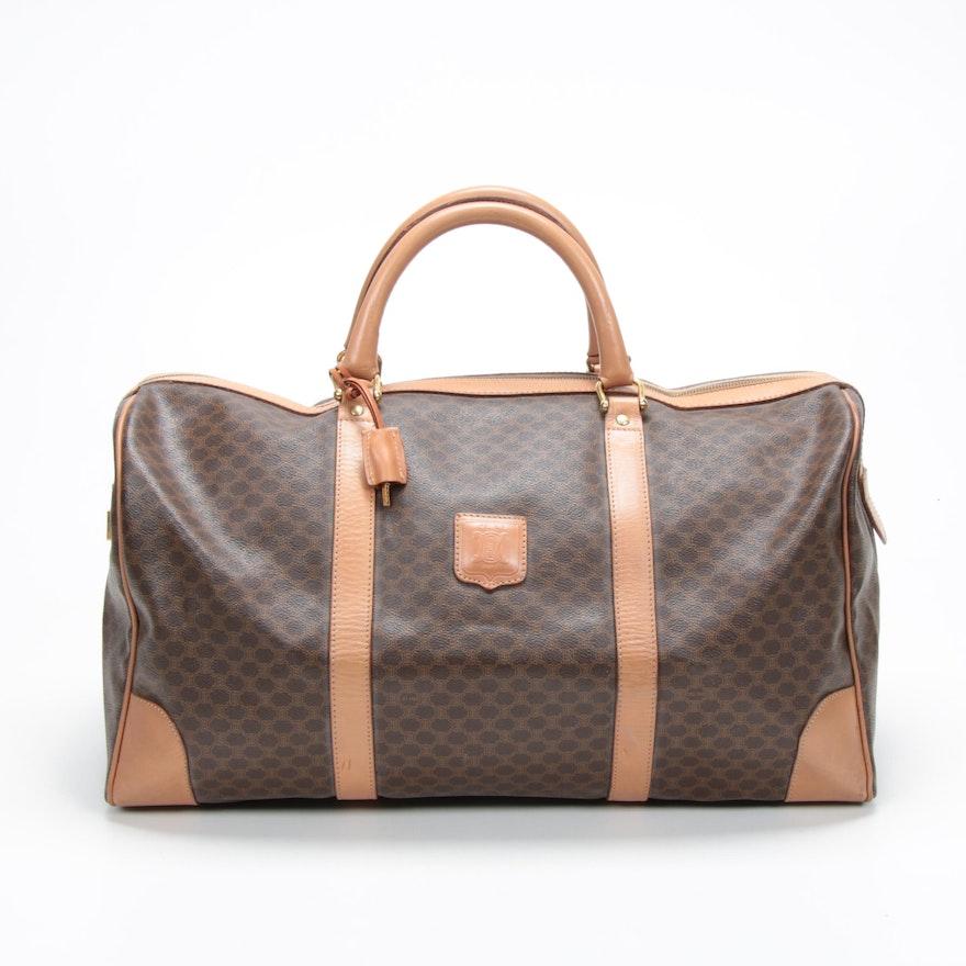 Céline Macadam Canvas Duffel Bag with Leather Trim