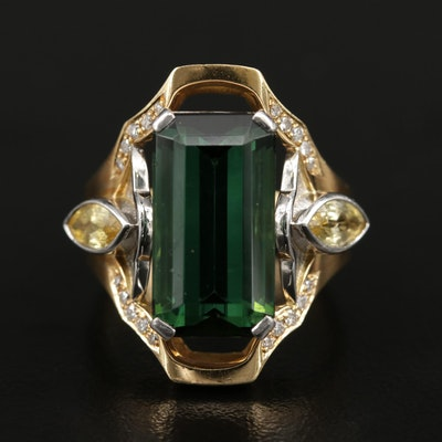 18K Gold 8.79 CT Tourmaline, Sapphire, and Diamond Ring with Platinum Accents