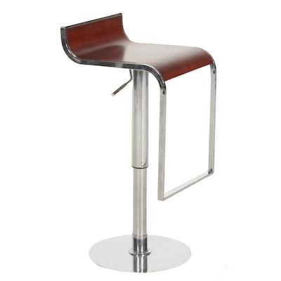Modern Chrome and Bent Wood Adjustable Height Barstool