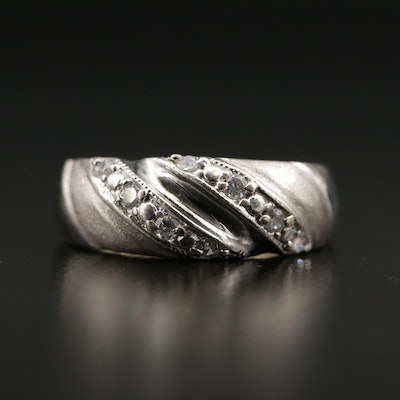 14K Gold Cubic Zirconia Twisted Band