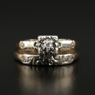 14K Gold Diamond Ring and Band