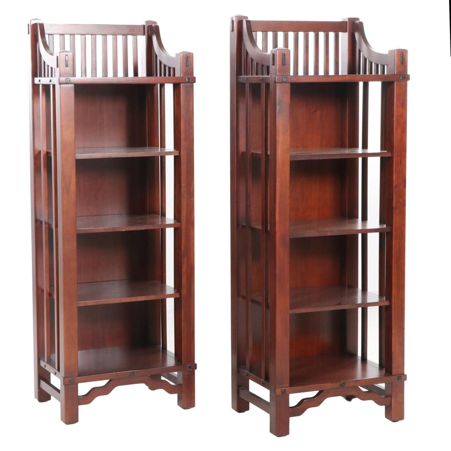 Pair of Thomasville Furniture Arts and Crafts Style Open Bookcases